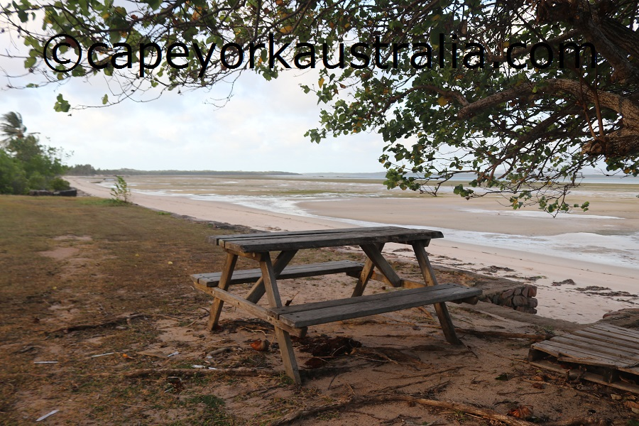 badu community beach walk picnic table