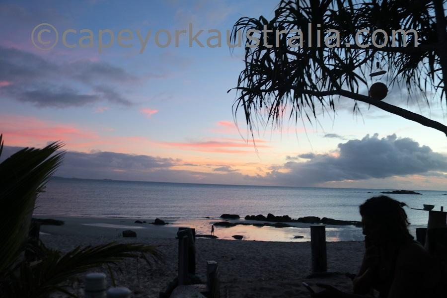 badu island camp sunset