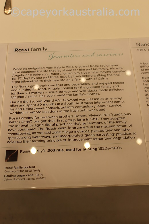 cairns museum rossi family