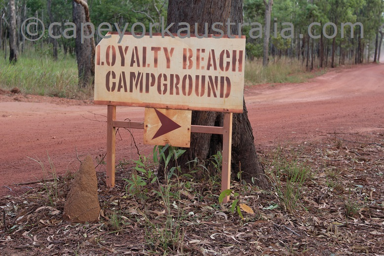 loyalty beach campground sign