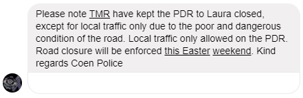pdr closed coen police