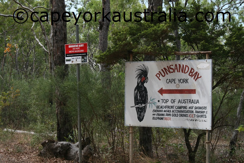 punsand bay camping resort sign
