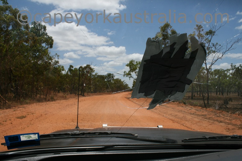 rock through windscreen