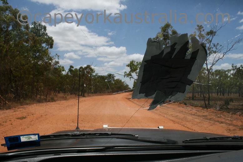 rock through windscreen