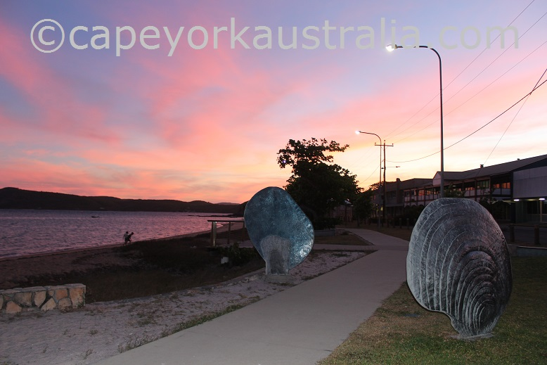 thursday island beachfront sunset