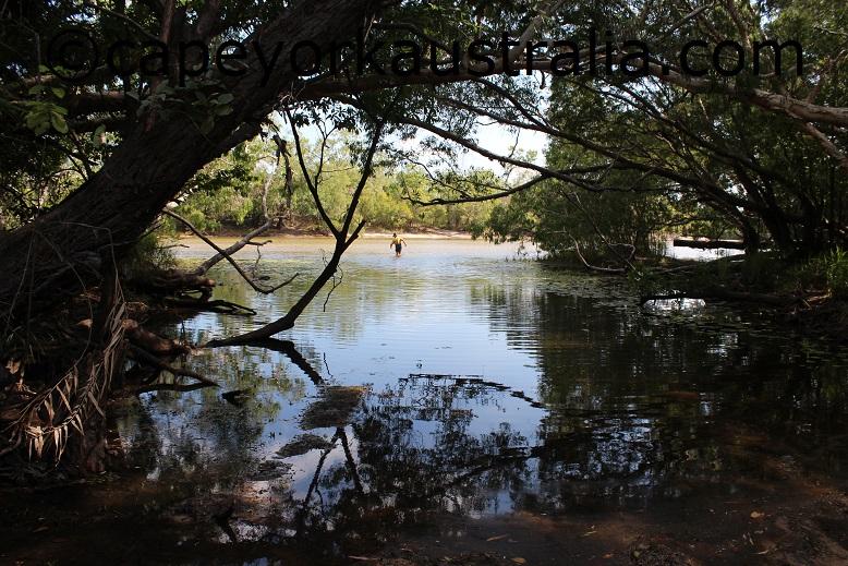 walking in jardine river ford